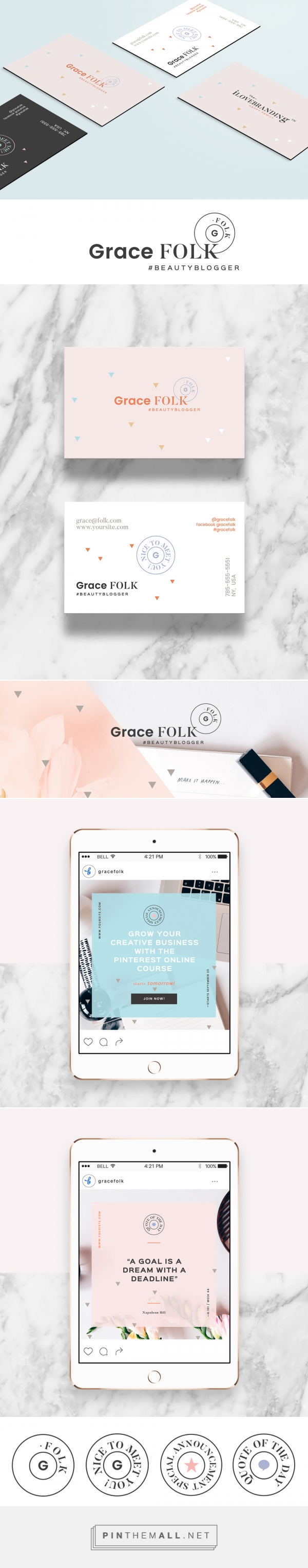 Mini Branding for Bloggers. Grace Folk Starter Kit - Everything you need to start a blog or small business ( logos, badges, social media headers, blog post templates, etc. All in the pack! A must-have for brand new bloggers. Get your starter kit now! 49$