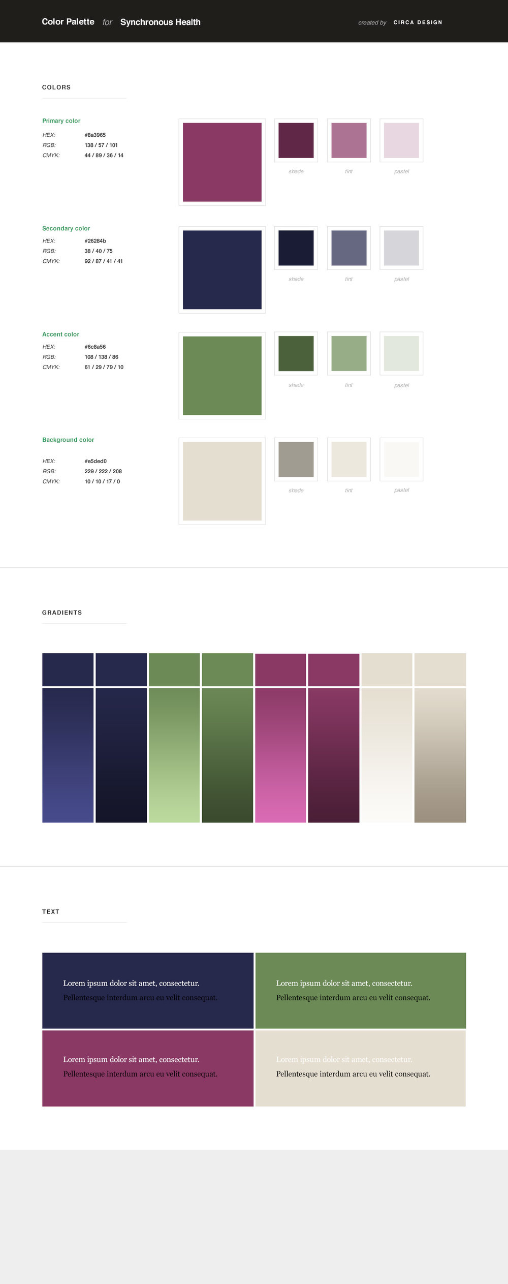 Synchronous Health Color Palette by Circa Design