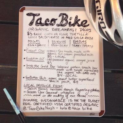 Taco Bike menu