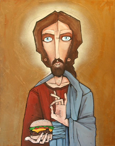 A drawing of Jesus holding a cheeseburger.
