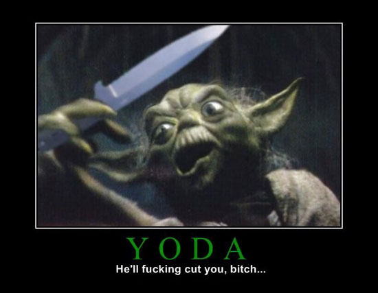 Yoda.  With a knife.