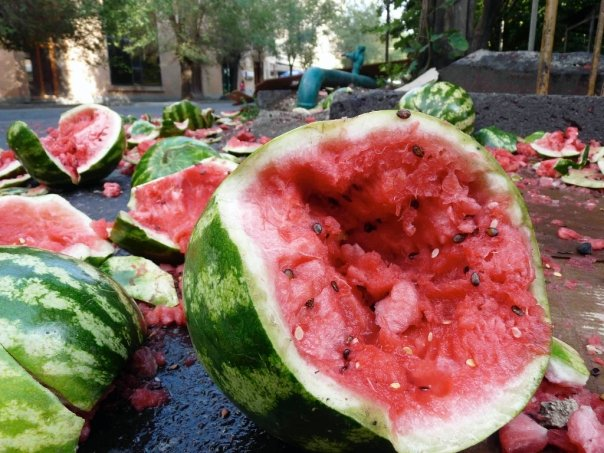 Smashed watermelons