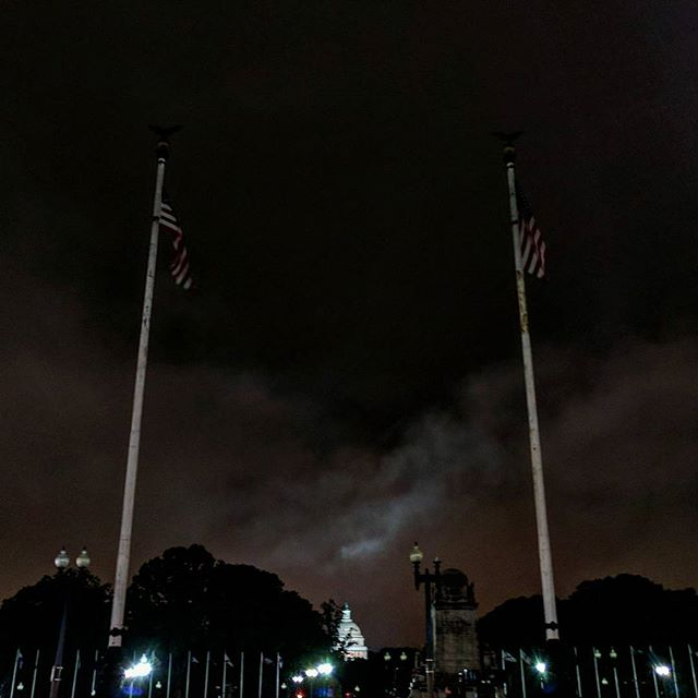 DC at night. #dc #unionstation #welcomehome #uscapitol #flags