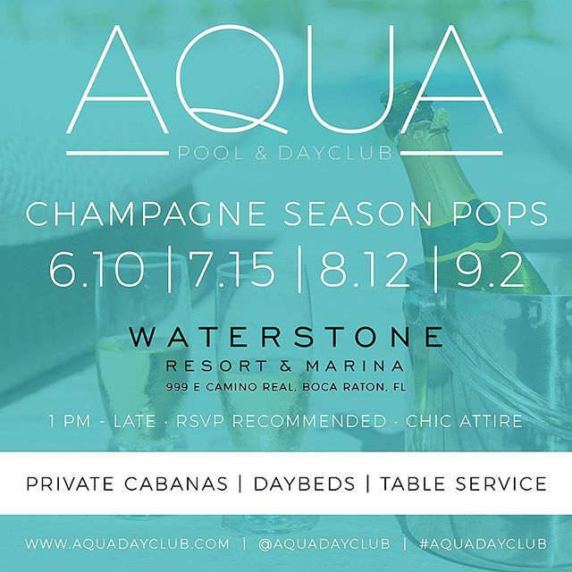 This Summer @aquadayclub get ready for something exclusive and luxurious! And of course champagne 🍾 First date of the 4 start June 10th , 75 Pre-Sale Tickets are on sale now on @aquadayclub IG , I highly recommend buying in advance! This event will sell out😎🎶