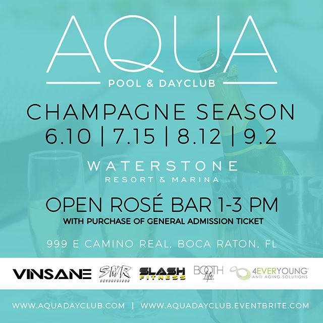 @aquadayclub tickets are still on sale! Open @meiomiwines Rosè Bar from 1-3pm! @casamigos and @titosvodka will be in the House. For Cabana & Daybed pricing please email: Info@aquadayclub.com , Tickets and reservations are highly recommended as there is a limited amount of space left! Can't wait to see you all 6/10 @waterstoneboca ☀️🍾😎