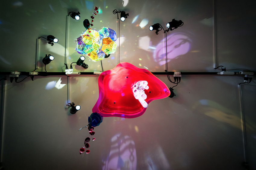 Moon, Shine 2015 | LED's, lighting gels, acrylic, wire, motor, figurines, and plastic flowers