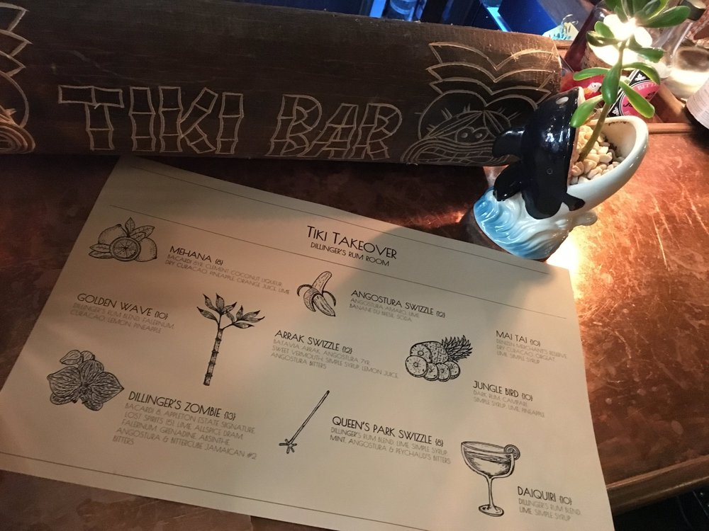Tiki menu from March 27, 2017. - First Tiki Takeover.