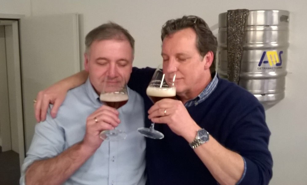 George Rittmayer, Brauerei Rittmayer Hallendorf with Mike sampling a medal winning smoked beer - the best he ever tasted!