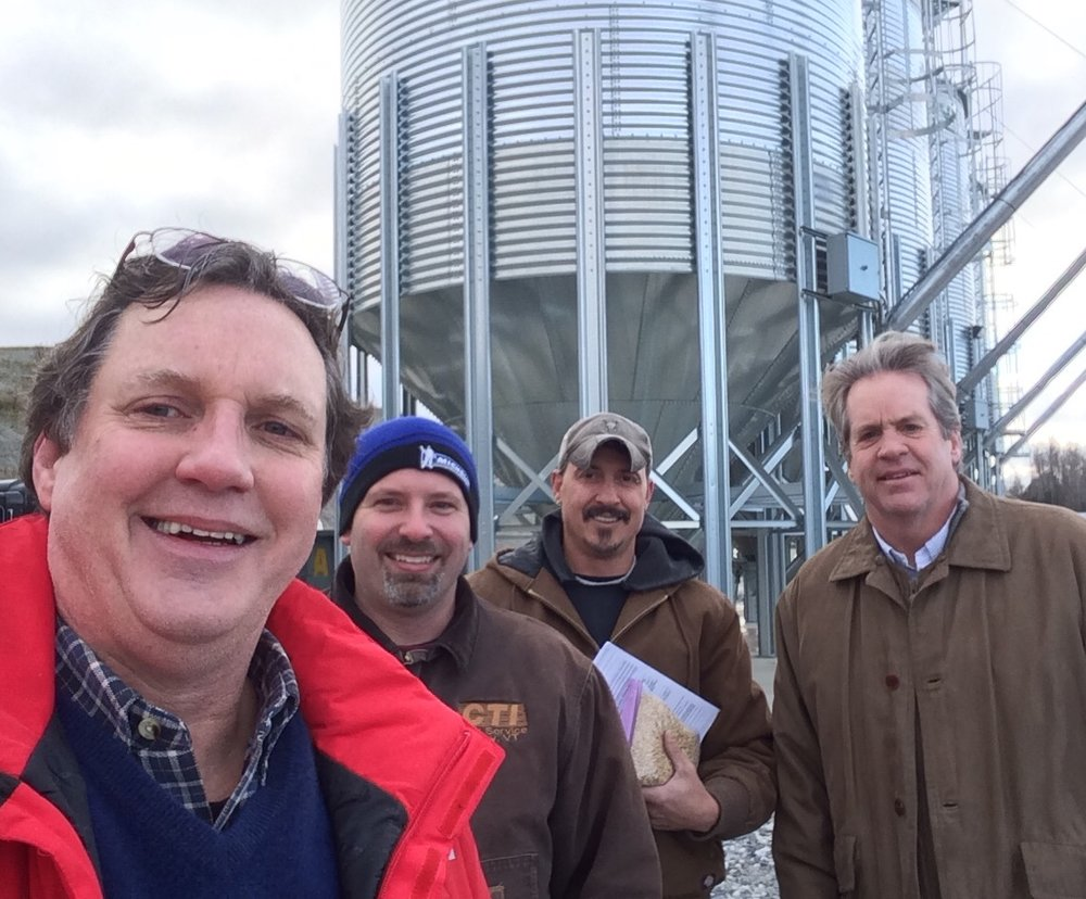 Mike, Dwayne Couture, Jeff and Mark getting together at the CTI site - we store over 200,000 lbs of SPM Pilsner Malt per silo!