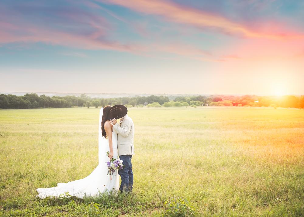Kissin' a cowboy at sunset!