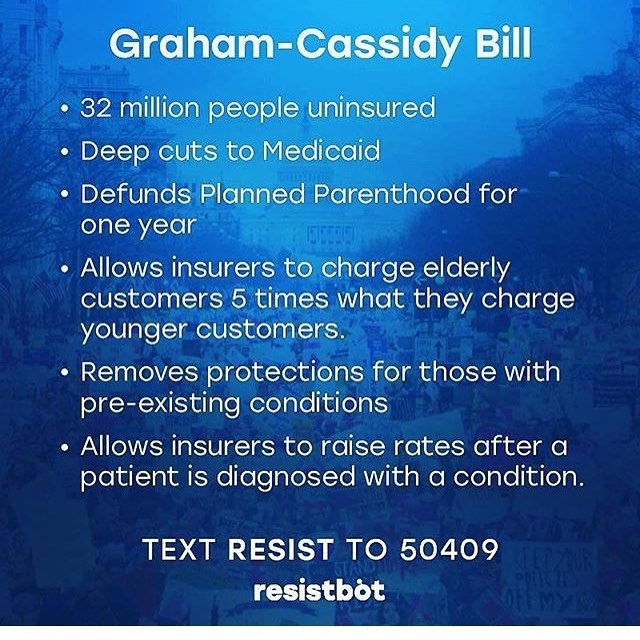 CALL 855-999-1663 AND TELL YOUR SENATORS TO VOTE NO ON #GrahamCassidy !!! 32 million Americans will lose #healthcare if passed. #trump is trying to push this through before 9/30 call your #senators today!!! #plannedparenthood would be defended. #medicaid would be cut. Premiums would increase.  #preexistingconditions would not be covered!!! Call! #stopthisbill #saveACA #aca #obamacare #grahamcassidybill #voteno #washington