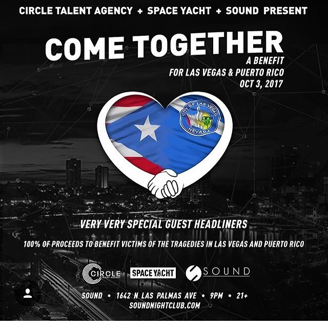 TOMORROW - LA #COMETOGETHER  A benefit for #PuertoRico & #LasVegas with very special surprise guest headliners  Presented by @circletalent @spaceyacht & @sound_nightclub  #SpaceYacht #benefit #heal #healasanation 100% of proceeds to victims of the Las Vegas #shooting and to the victims of the #Hurricane in Puerto Rico 🇵🇷 #donate #support #soundnightclub #LA #losAngeles #california #cali