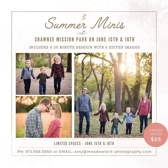 Hey y'all! I still have a 6:00 and 7:30 opening for mini sessions at Shawnee Mission Park this Friday! Give me a shout if you need some updated pictures!
