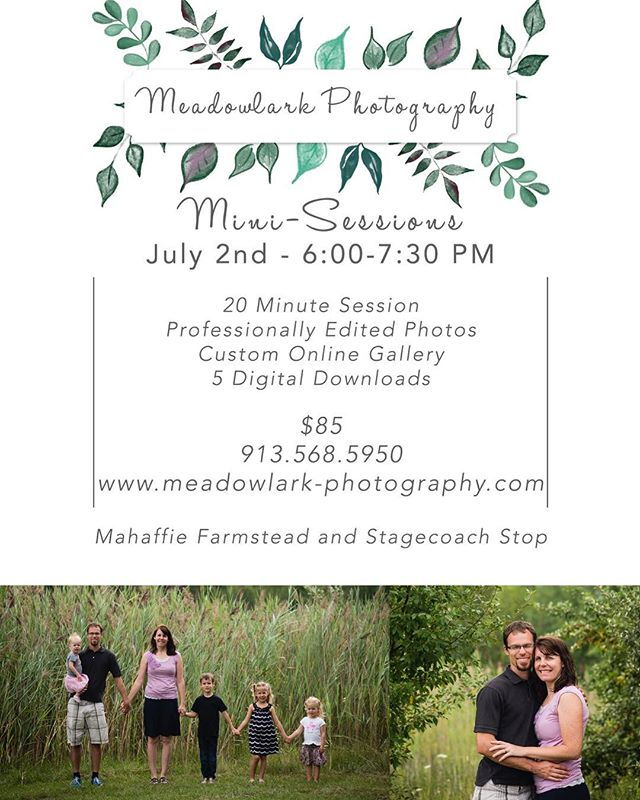 Mini sessions are coming up July 2! What do you need? Headshots, family pictures? Anniversary? 6:00, 6:30, and 7:30 are still available! Olathe location for this date!