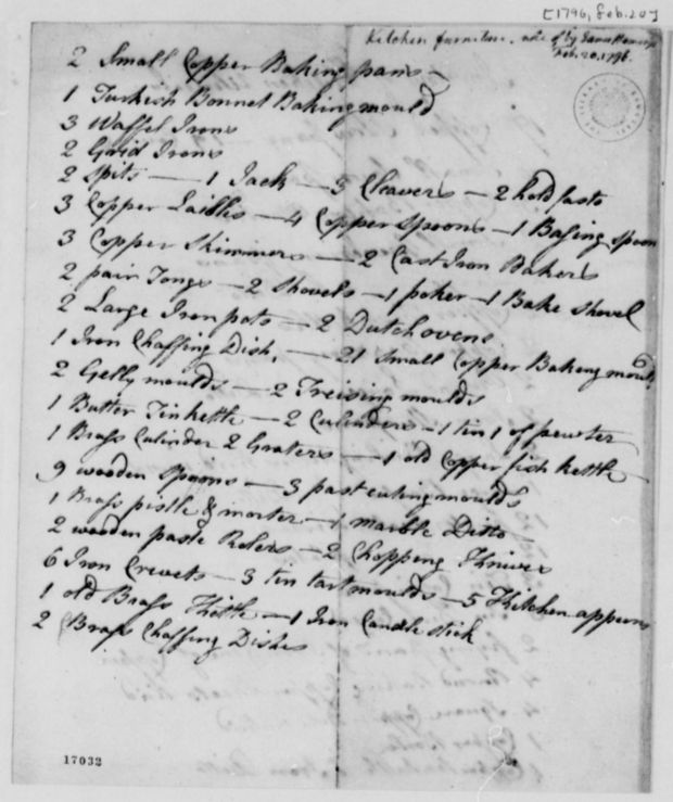 An inventory of utensils from Hemings' kitchen at Monticello, in his own hand.