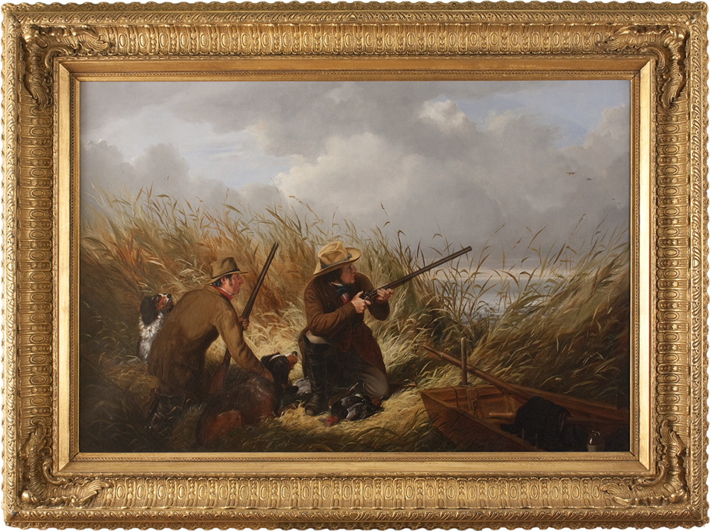Duck Shooting over Decoys , 1854 Oil on canvas, 30 x 43 in., signed and dated lower right: A. F. Tait 1854  Exhibited:  Pennsylvania Academy of the Fine Arts, 1854  Price on request  Inquire about this work    Here Tait adopted a low-angle perspective, which gives the viewer a sense of participating in the action, and he also used a burst of light to spotlight the hunters amidst the dark marsh grass. Tait directed the viewer's gaze from the central figure to his companion on the left, and then, following the hunters' gaze, back toward the distant flying ducks. In this way, he generated the feeling of tense anticipation appropriate to this crucial moment before the hunter fires. Details such as the dead ducks lying at the hunter's feet, the decoys floating on the water, and the provisions in the boat add further narrative depth.