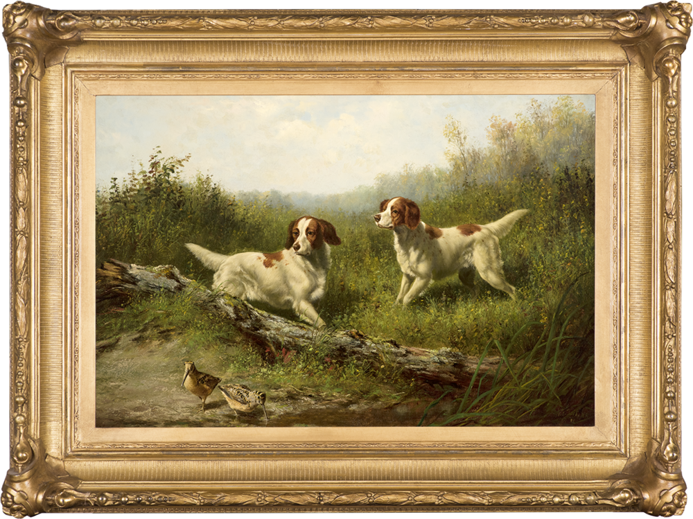 Steady, Woodcock Shooting,  1886 Oil on canvas, 16 x 24 in., signed and dated lower right: A. F. Tait N. A. / N. Y. 86  Exhibited:  National Academy of Design, 1886, no. 718. Price: $95,000  Inquire about this work