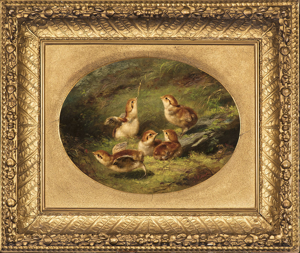 Young Ruffed Grouse,  1858 Oil on canvas, 9 ½ x 12 ½ in., signed lower left: A. F. Tait / NY Price: $28,000  Inquire about this work