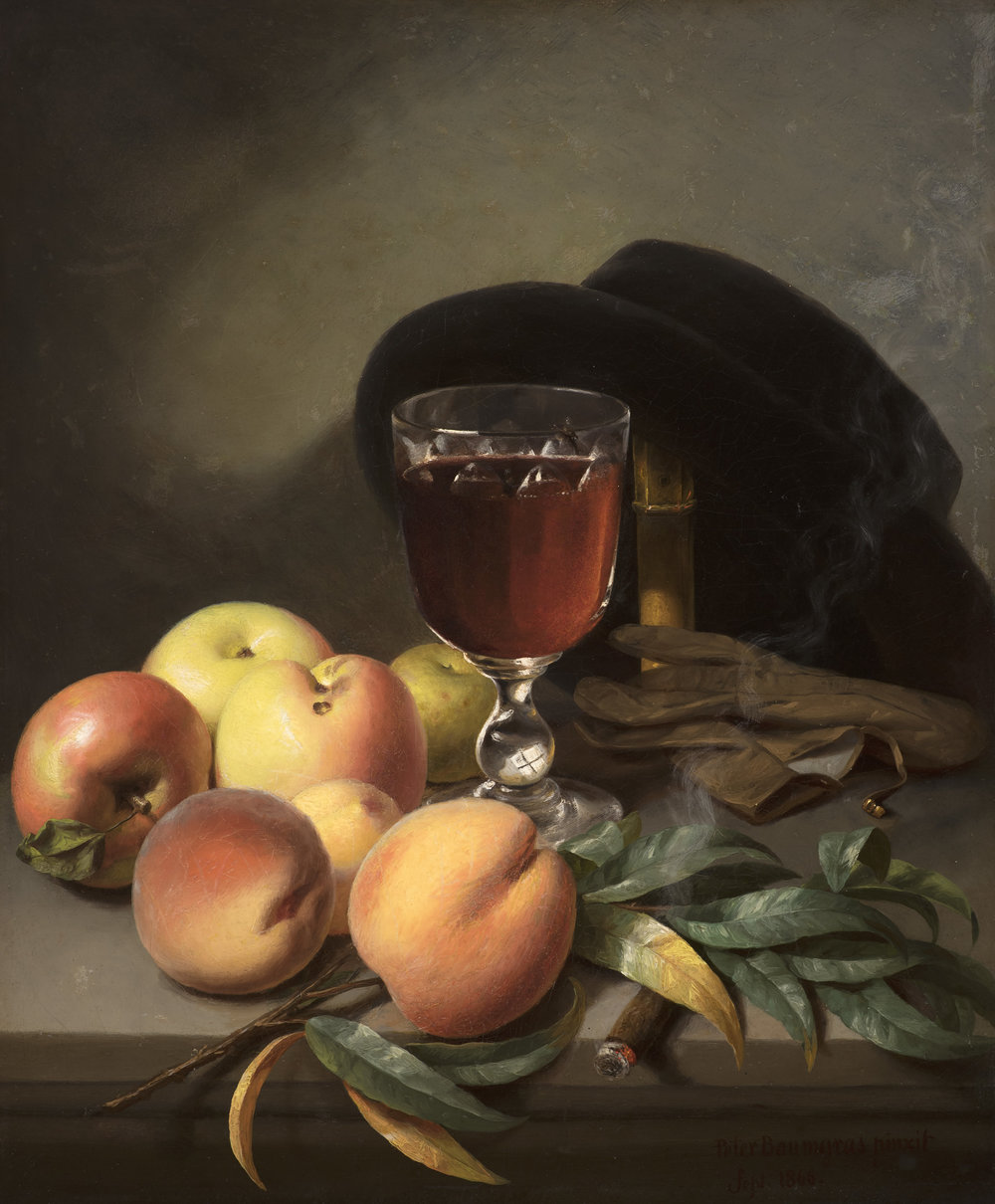 Baumgras_Tabletop with Apples, Peaches, Gloves, Hat, and Cigar_2500.jpg