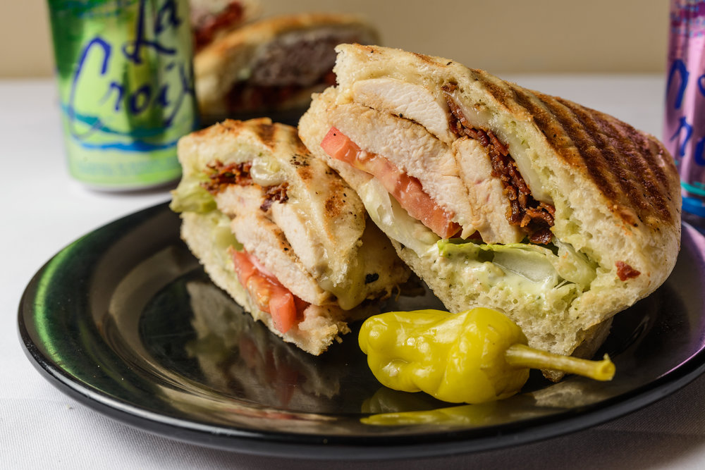 #11 - $8.50 - The Zoe – Grilled chicken breast, apple smoked bacon, pesto mayo, lettuce, tomatoes and provolone