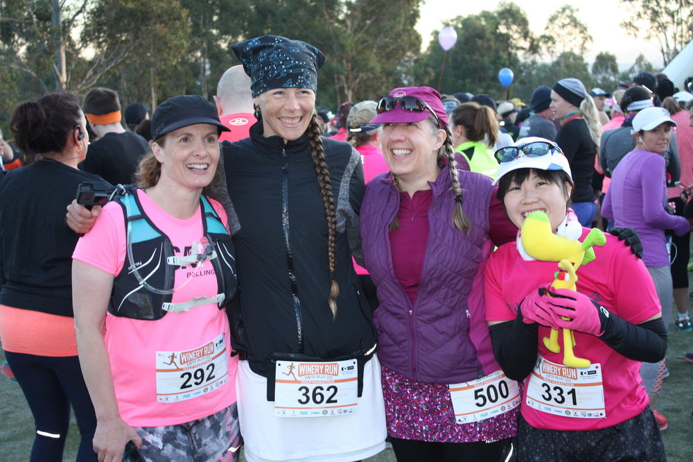 Who took this photo? Can you tell there were multiple cameras pointed at us and we didn't know which one to look at? Pre-race picture with Holly, Me, Wendy and Miyuki!