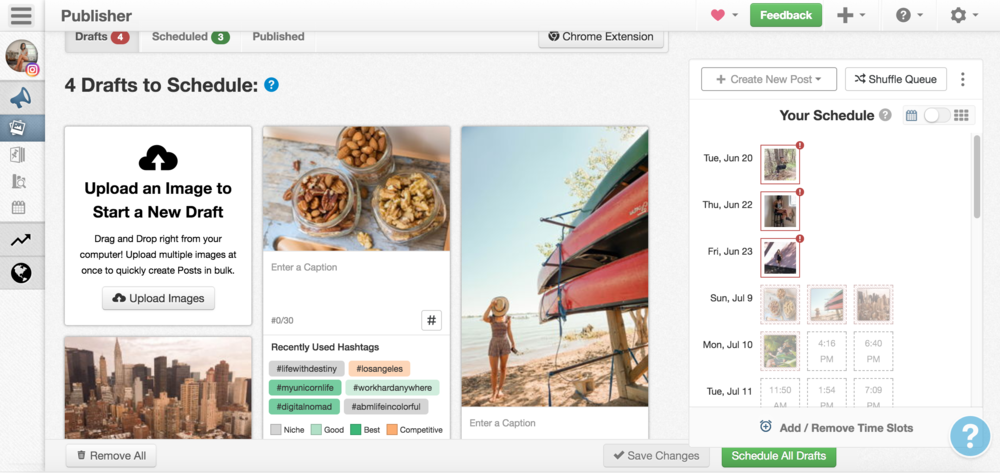 Here is what the draft area looks like in Tailwind when you upload photos. When you're ready, you can write out captions, organize photos, add captions, and schedule your Instagram posts to publish on an optimized content calendar created by the Tailwind app based on your audience metrics.