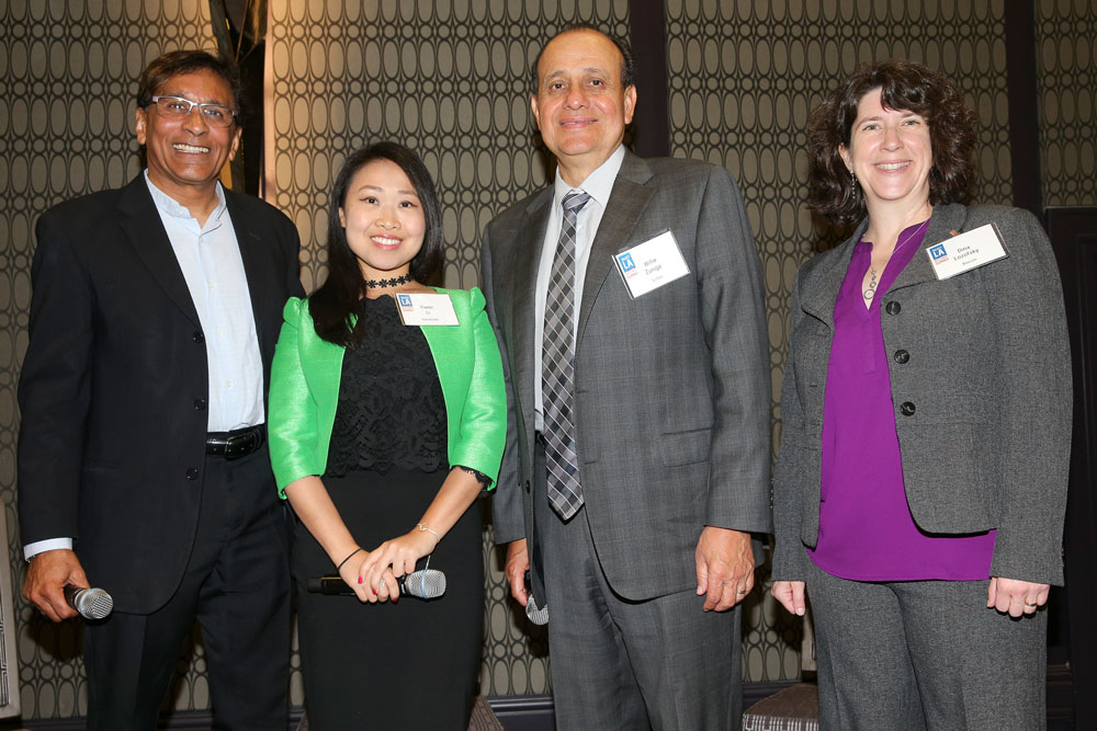 SELECT LA in Bioscience Panel with (left to right):   CEO & Founder of Larta Institute Rohit Shukla,   Director, Strategy and Business Development of NantHealth's Yiwen Li,   President of Grifols Biological Inc. Willie Zuniga,   Executive Director of Biocom Dina Lozofsky