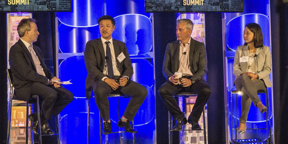 From Left to Right:  ERIC ZABINSKI : Partner at O'Melveny/Panel Moderator,  RICHARD JUN : Co-Founder & Managing Director at BAM Ventures,  RICK SMITH : Co-Founder & Managing Director at Crosscut Ventures,  CHANG XU : Principal at Upfront Ventures