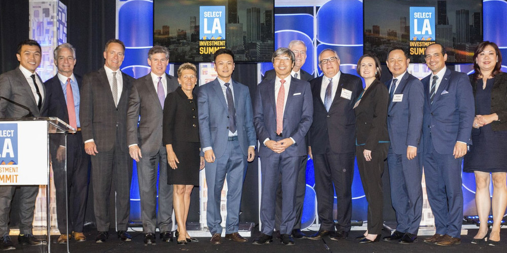 WTCLA President Stephen Cheung, CBRE Southern California President Lew Horne, O'Melveny Partner Steve Olson, Gensler Co-Managing Principal Rob Jernigan, American Airlines Senior Vice President Suzanne Boda, Cathay Bank Senior Vice President Rex Hong, Nantworks Chairman & CEO Dr. Patrick Soon-Shiong, LAEDC CEO Bill Allen, City National Bank Senior Vice President Steve Bash, JPMorgan Chase & Co. Market Executive Maggie O'Sullivan, East West Bank Senior Vice President Andrew Pan, CBRE Americas Head of Research Spencer Levy, ICBC USA Senior Vice President Alice Gao.