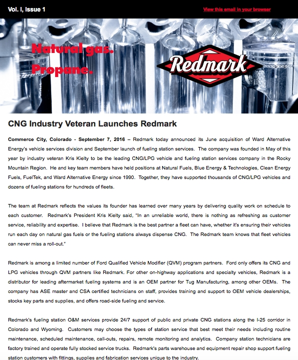 Redmark CNG E-News: Vol. I, Issue 1