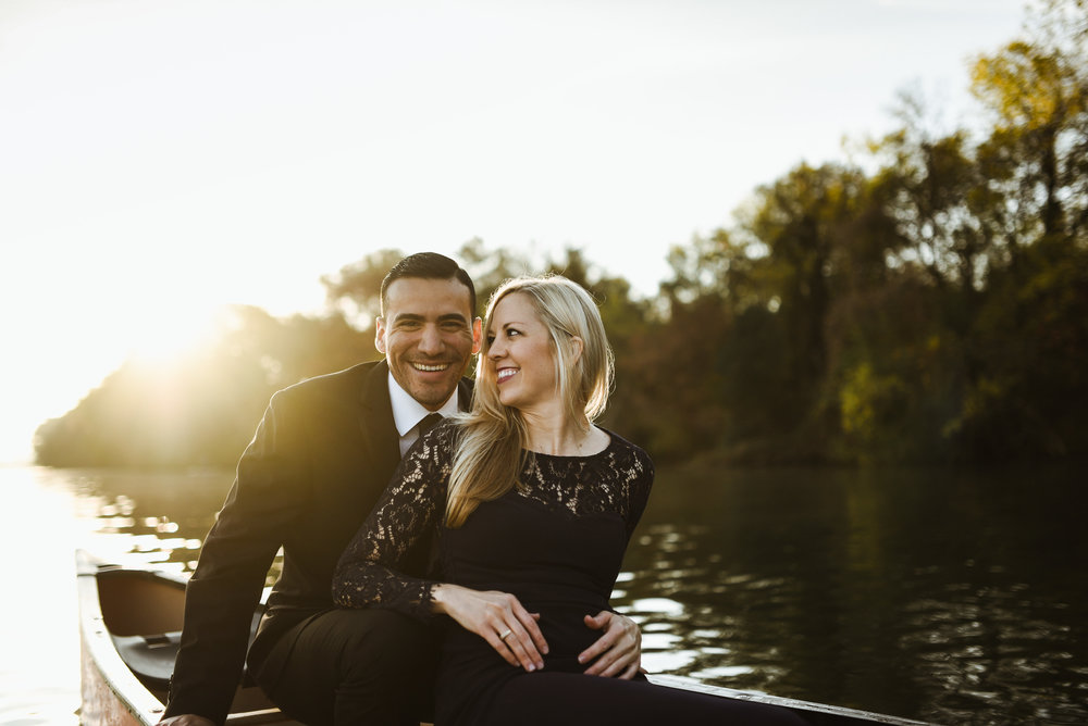 I am a HUGE fan of juxtaposition. I believe it makes for interesting photos and creates a more timeless image. Having these two in formal wear while paddling around Austin in a canoe at sunrise paid off!