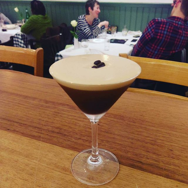 "Espresso Martini,  a Dick Bradsell invention:  The story goes that Bradsell created the drink—originally called The Vodka Espresso then the Pharmaceutical Stimulant—at Fred's Club in the late 1980s, when a young model, who Bradsell claims is now world famous, sidled up to the bar and asked for something to ""wake me up and f**k me up"". His solution was a combination of vodka, fresh espresso, coffee liqueur and sugar, shaken into a frothy mix of bittersweet addiction.  The Espresso Martini is now a world wide classic, many more have claimed to have invented it but we believe it has to have been Dick Bradsell. /  Is now on here at Verdi's,  9£ for your after dinner to complete your night. For any 2, the 3rd is on the House.  Come and try it.  #what #a #drink #espressomartini #espresso #coffee #beans #vodka #kahlua #brownie #foam #classic #cocktails #italian #restaurant #in #east #london #stepneygreen #romanroad #yummy #are #you #in #for #the #offer #3x2 :) ❤"