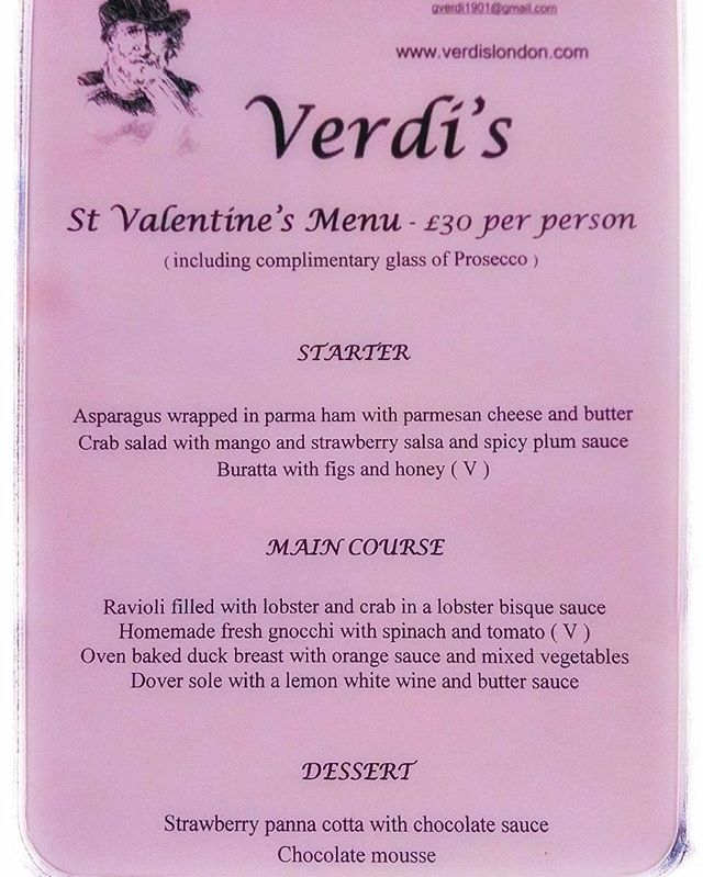 Verdi's San Valentine's Menu.  Its almost full booked. Dm for any last minute reservation, Don't miss out, great food in a great atmosphere to celebrate your night with your partner choose us.  #verdis #restaurant #london #sanvalentin #love #heart #food #passion #best #place #for #a #romantic #night #out #for #the #love #world #day ❤❤❤❤❤❤❤❤❤❤❤