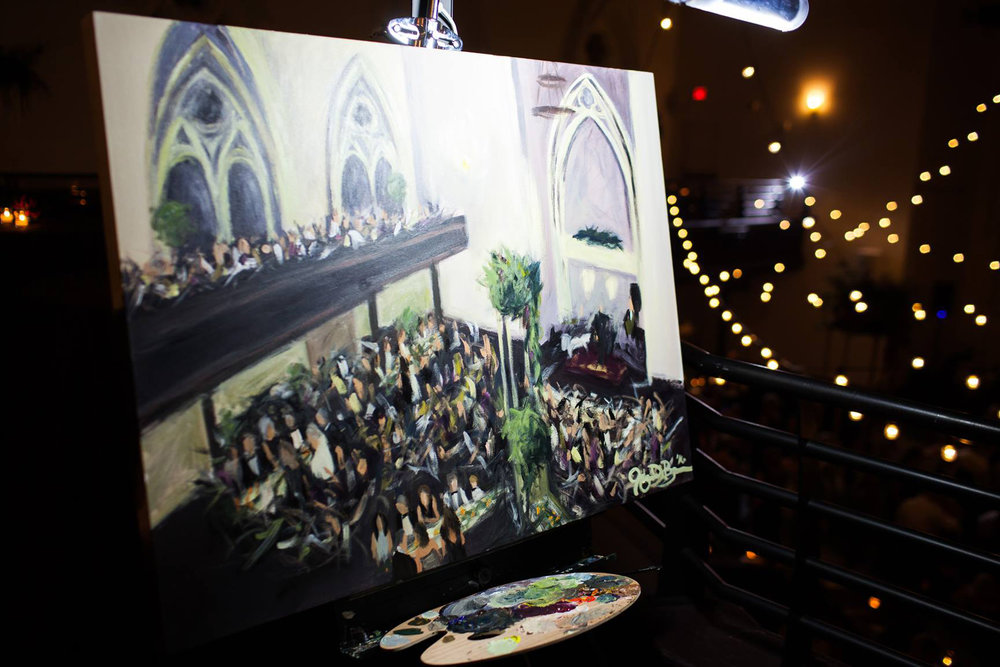 Live wedding painting at the end of the night, ready to pack up and take back to my studio for some more details //  Photo Credit: Nathan Peel Photography // Live Wedding Painting by Cleveland Event Painter Jacqueline DelBrocco