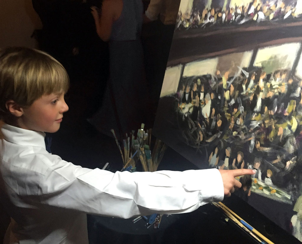 A young guest spotted himself in the painting! //  Live Wedding Painting by Cleveland Event Painter Jacqueline DelBrocco