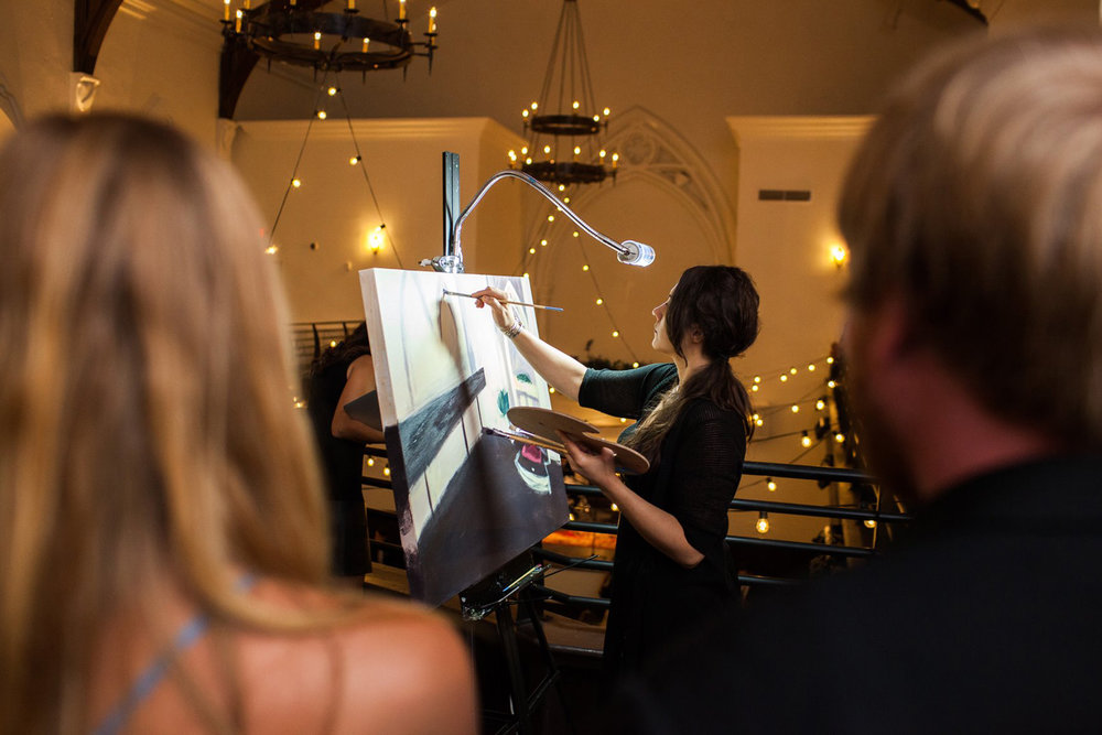 Live Wedding Painting at The Transept, Cincinnati OH // Cleveland Event Painter Jacqueline DelBrocco // Photo Credit: Nathan Peel Photography