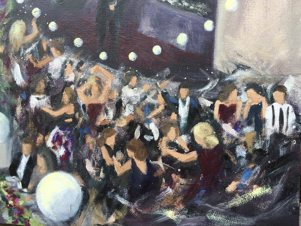 Dance Floor Detail - Live wedding painting by Cleveland Event Painter Jacqueline DelBrocco