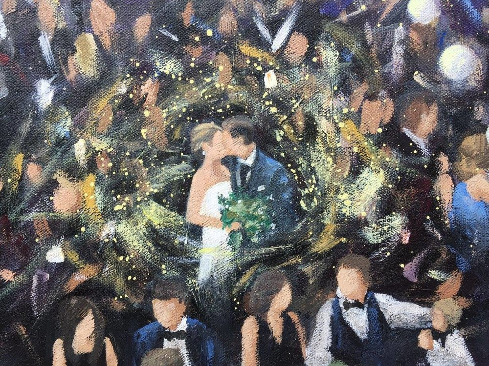 Bride and Groom Detail - Live wedding painting by Cleveland Event Painter Jacqueline DelBrocco