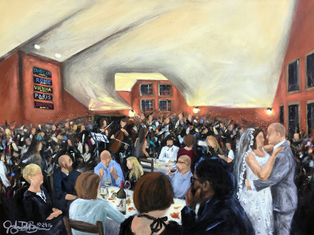 Live Wedding Painting // Cleveland Event Painter Jacqueline DelBrocco // 30x40in // Acrylic on Canvas // M Cellars, Geneva, OH // October 2016