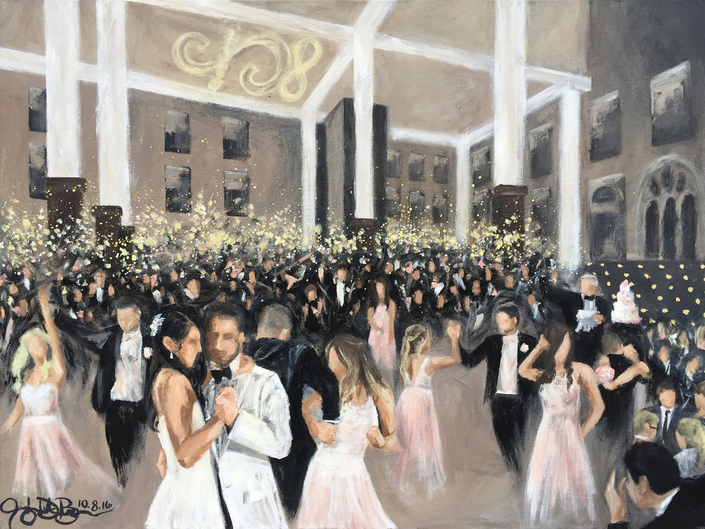 Live Wedding Painting // Cleveland Event Painter Jacqueline DelBrocco // Walter Commons, St. Charles Prep, Columbus, OH // 30x40in // Acrylic on Canvas // October 2016