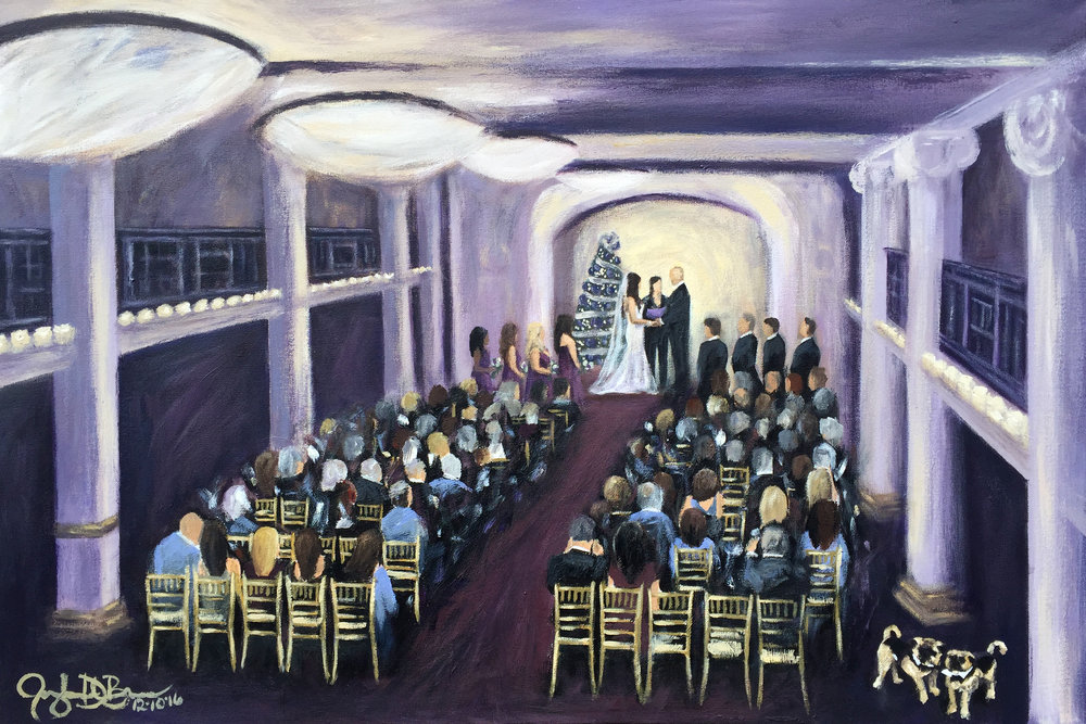 Live Wedding Painting // Cleveland Event Painter Jacqueline DelBrocco // 24x36in Acrylic on Canvas // The Ballroom at Park Lane, Cleveland, OH // December 2016