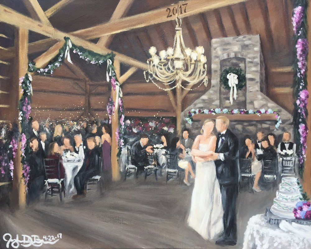 Live Wedding Painting // by Cleveland Event Painter Jacqueline DelBrocco // 24x30in acrylic on canvas