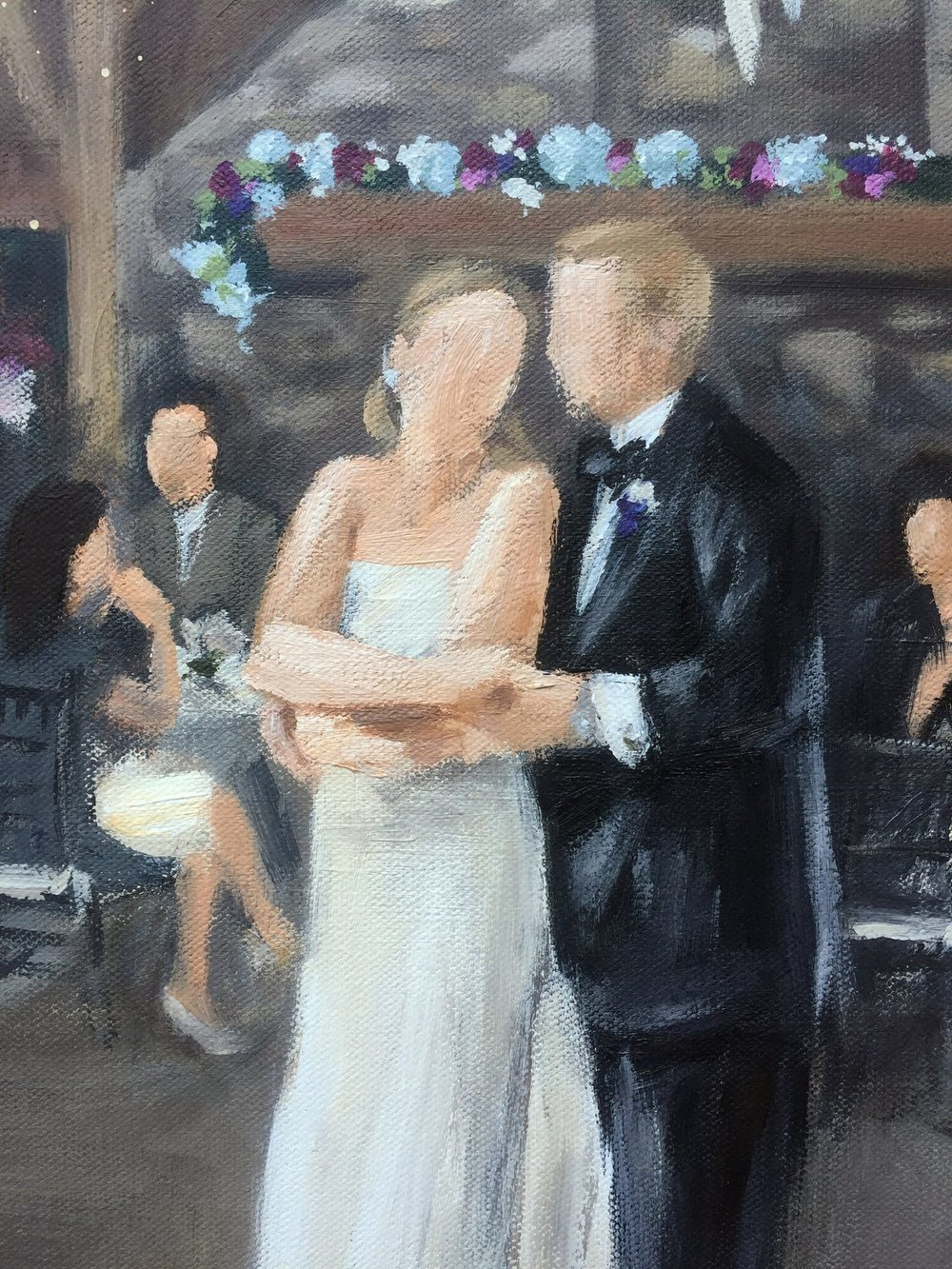 Live Wedding Painting Detail // Bride and Groom Portrait // by Cleveland Event Painter Jacqueline DelBrocco