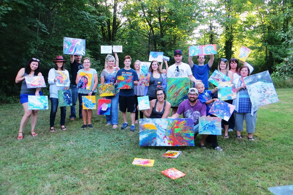CLE Paint Party guests with their finished artwork at a recent event!  With CLE Paint Party, your guests will have fun creating artwork during your event and letting their inner artists shine!  After the party, the artwork they create goes home with them along with a fun, unique memory they will never forget!