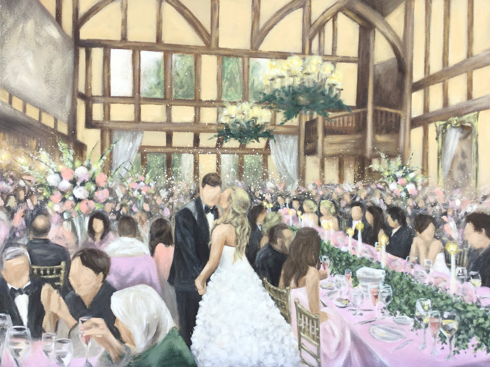 Live Wedding Painting by Cleveland Event Painter Jacqueline DelBrocco // Mayfield Sand Ridge Club, Lyndhurst, OH // May 2017 // 30x40in acrylic on canvas