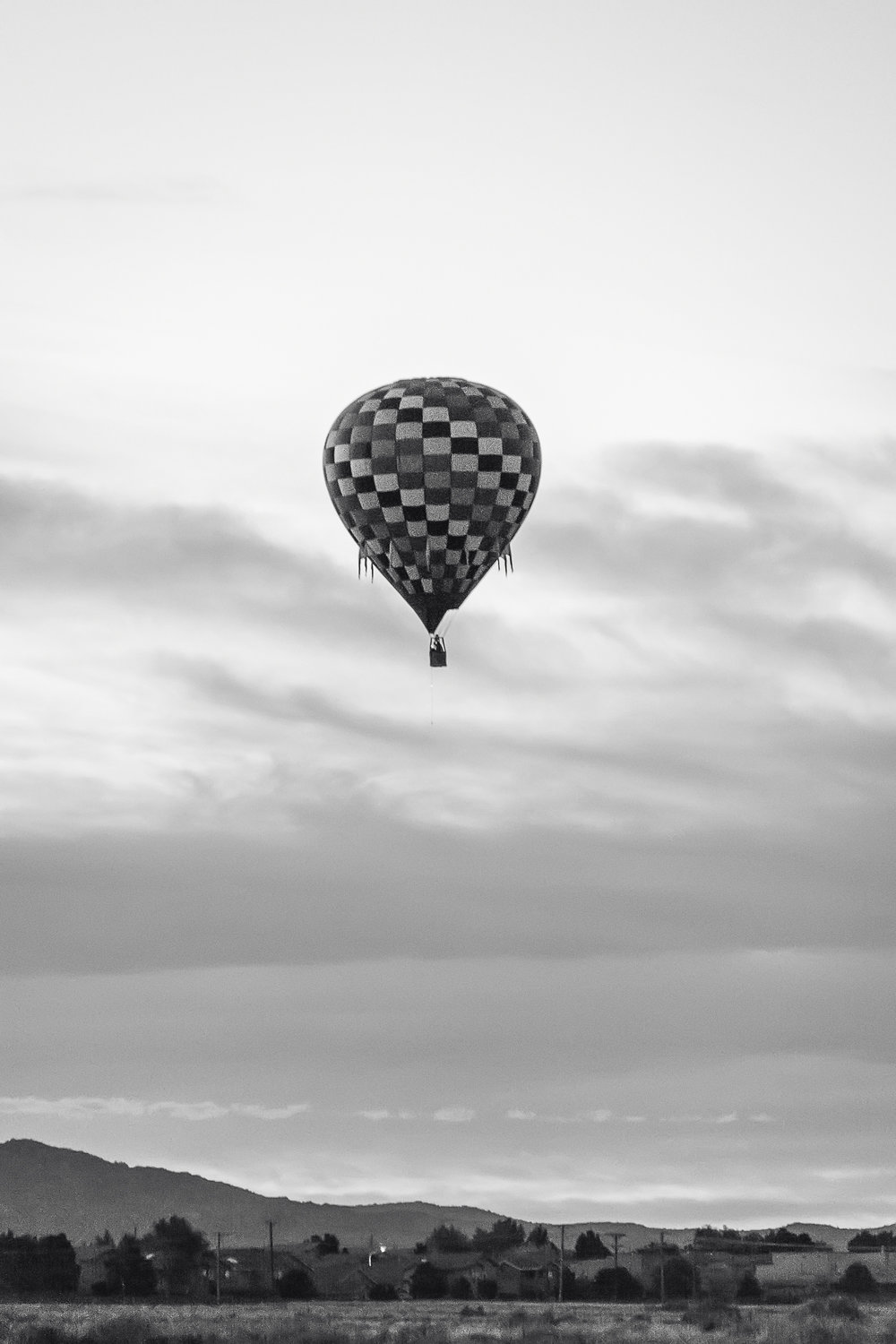 Black and White Balloon Photo, Albuquerque Photographer, Albuquerque International Balloon Fiesta, Hot Air Balloon