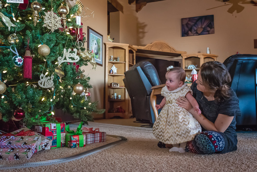Christmas Portrait, Mother-Daughter Photo, Baby Christmas Dress, Los Lunas, New Mexico