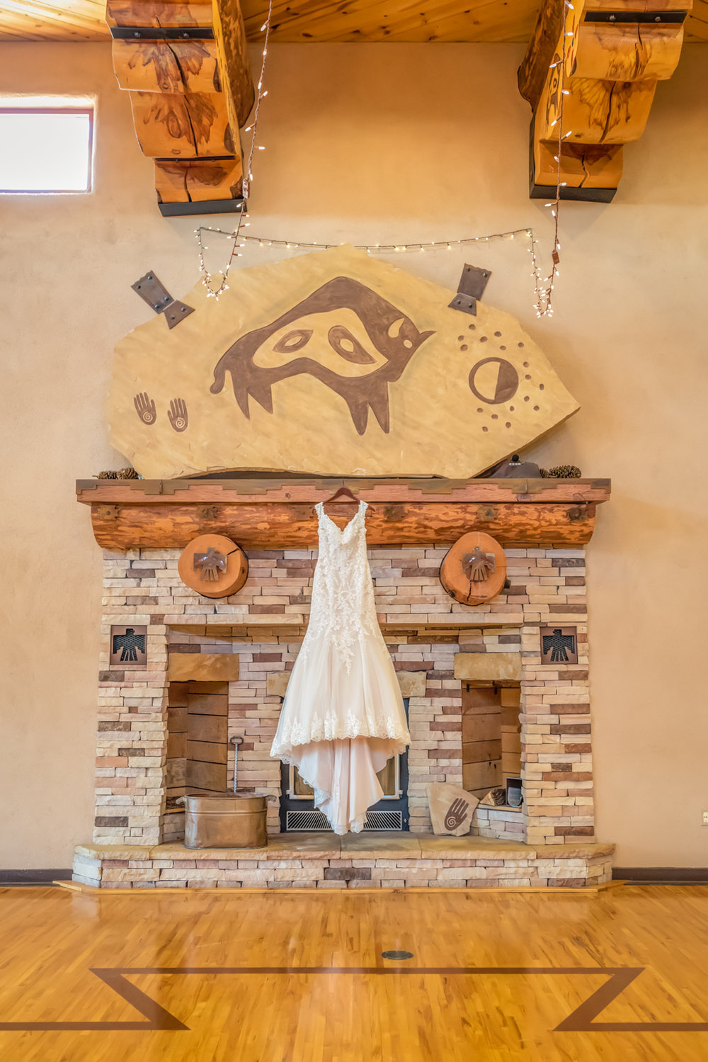 Maggie Sottero Wedding Gown, Rebecca Ingram Wedding Gown, New Mexico Wedding Venue, Nature Pointe Wedding and Event Center, Grand Fireplace, New Mexico architecture