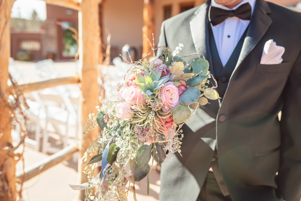 Charlotte's Flowers, silk flower bridal bouquet, black tuxedo, New Mexico Wedding, outdoor wedding, Nature Pointe Wedding and Event Center