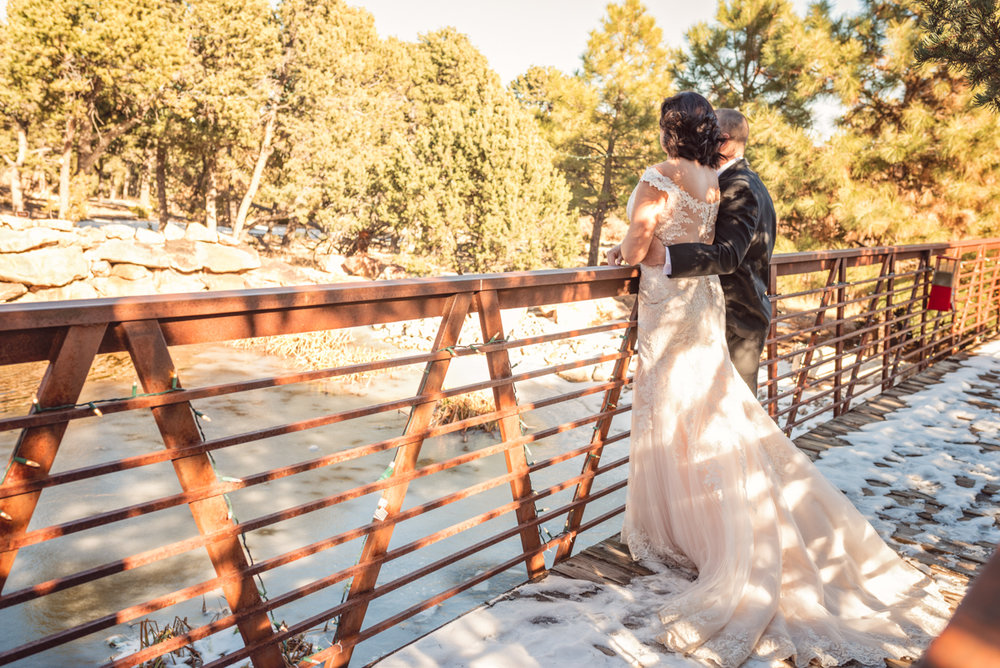 Nature Pointe Wedding and Event Center, Outdoor wedding, mountain wedding, New Mexico Wedding, Albuquerque Wedding, winter wedding, outdoor winter wedding, Maggie Sottero wedding gown, Rebecca Ingram wedding gown